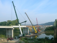 Liebherr LTM 1300 , Grove GMK 7550 , Manitowoc 10000 Bridge Project Hayesville In