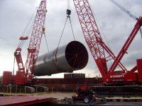 Kobelco CK 2500 & 1600's, Offloading Barge Cement